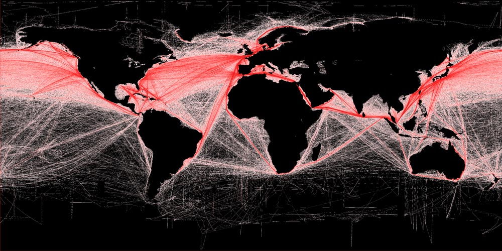 Global shipping routes map