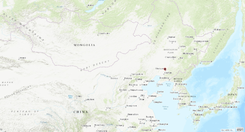 Map of China with location of ASF outbreak