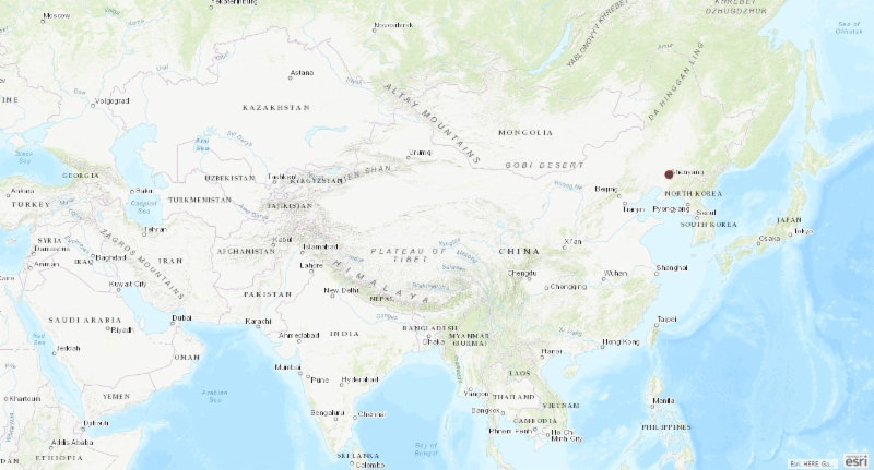 Map of the Asian region with location of ASF outbreak in China