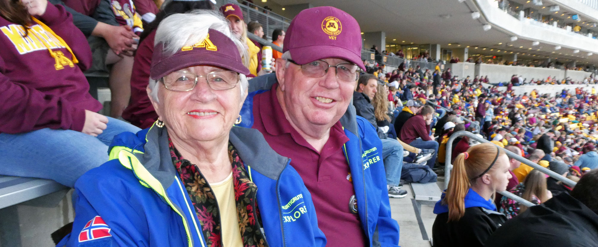 Lyle Vogel and his wife, Rosemary at a Gopher football game during his 50-year reunion